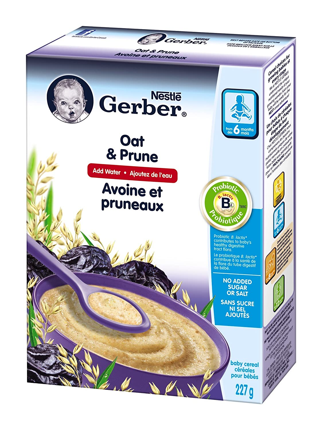 Gerber Baby Cereal, Oat and Prune, 227g Nestle Canada