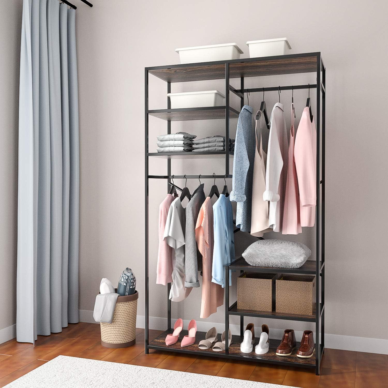 Closet Wardrobe Clothes Organizer Storage Garment Rack Unit with Hanger Shelf