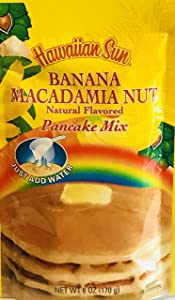 Hawaiian Natural Flavored Pancake Mix! Choose From Macadamia Nut Flavors! Just Add Water! 6oz Package! (Banana Macadamia Nut)