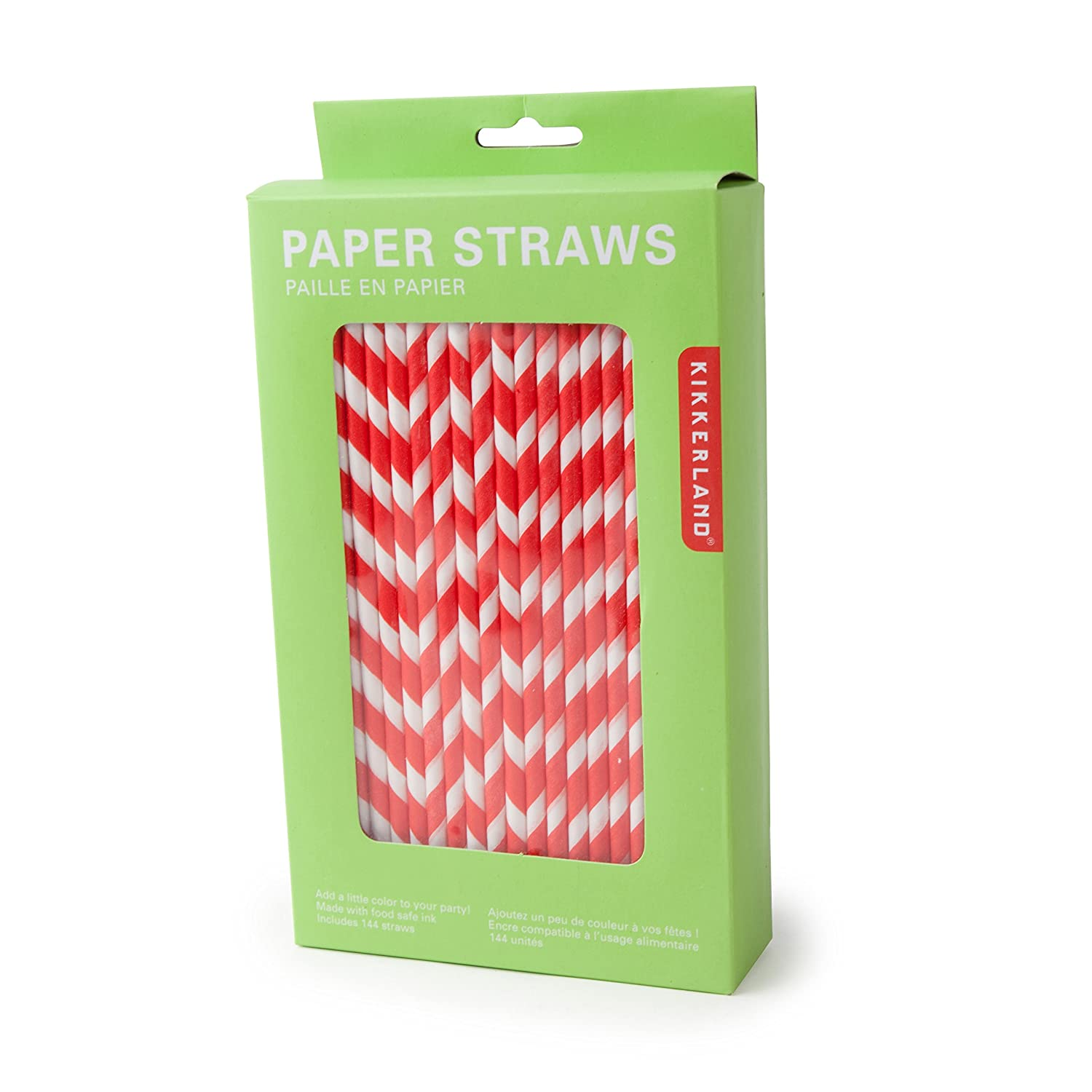 kikkerland biodegradable paper straws gray and white striped box  - kikkerland biodegradable paper straws gray and white striped box of amazonca home  kitchen