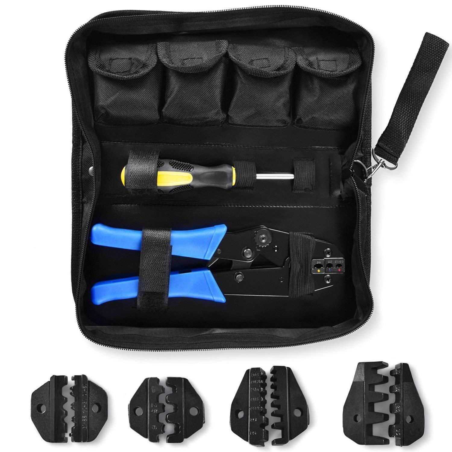 Amzdeal Crimping Tool Kit Ratchet Terminal Crimper Tool 20-2 AWG 5 Interchangeable Die Set for Insulated and Non-insulated Terminals with Storage Bag - Blue