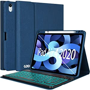 "iPad Air 4th Generation Keyboard Case 10.9"" 2020, COO Keyboard Case for iPad Air 4th Gen/ iPad Pro 11"" 2018 - 7 Color Backlit Detachable Wireless Keyboard Protective Cover, Built-in Pencil Holder"