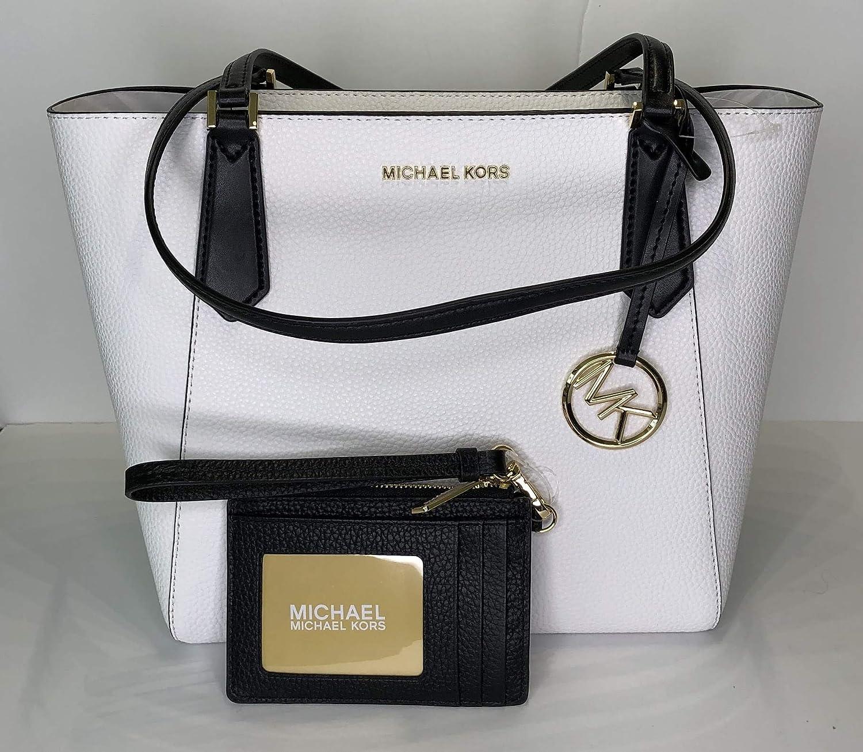 15b00bab1f58 MICHAEL Michael Kors Kimberly SM Bonded Tote bundled with Michael Kors Jet  Set Travel Coin Purse Wristlet (Optic White/Black): Handbags: Amazon.com