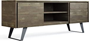 "SIMPLIHOME Lowry SOLID WOOD Universal Low TV Media Stand, 63 inch Wide, Modern Industrial,Entertainment Center, Storage Shelves and Cabinets, for Flat Screen TVs up to 70"" Distressed Grey"