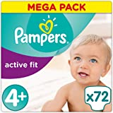 Pampers - Active Fit - Couches Taille 4 + (9-18 kg/Maxi+) - Mega Pack (x72 couches)