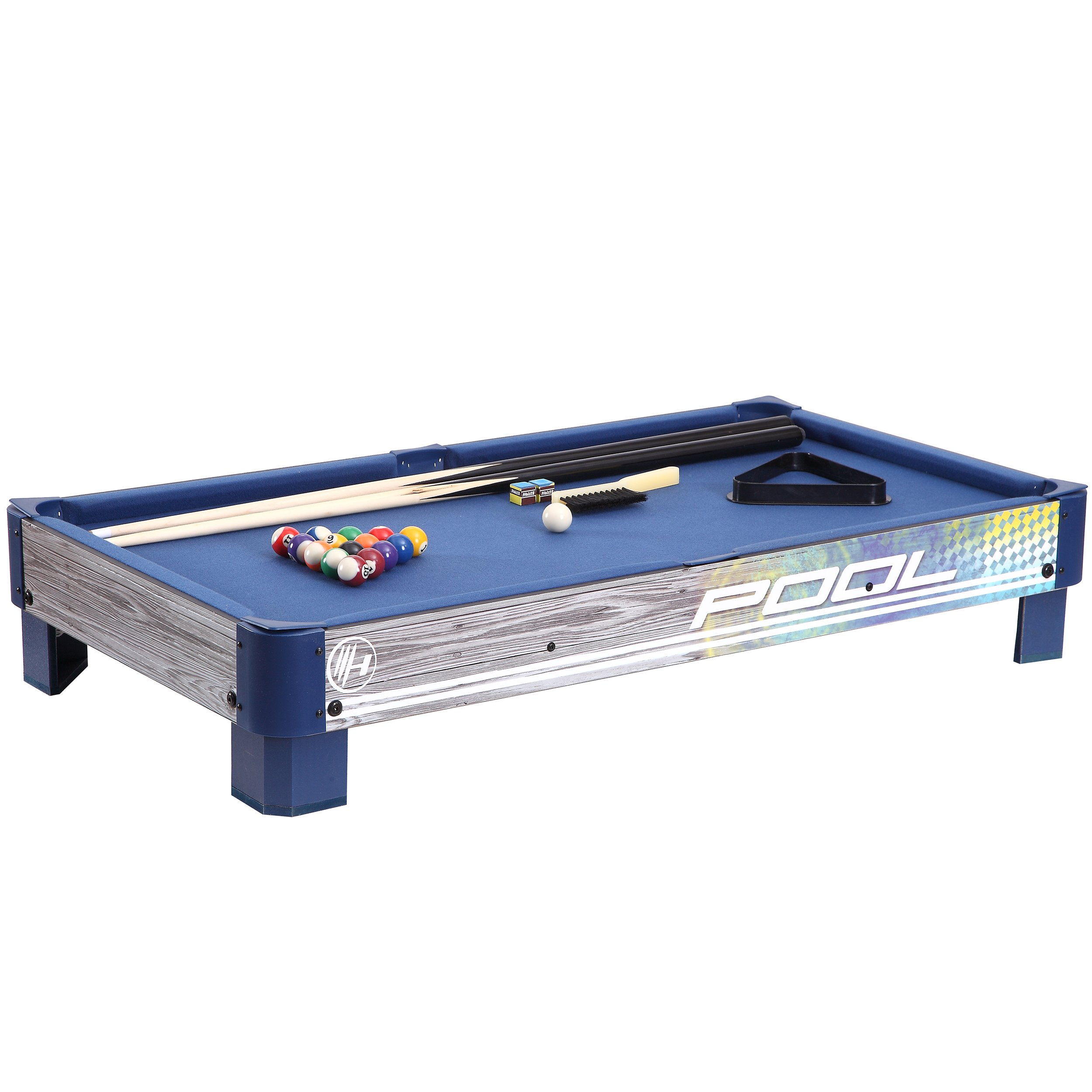 Harvil Tabletop Pool Table with L-style Legs. Includes 2-Pieces 36-Inch Pool Cues, 1 Set of Billiard Balls, Chalk and Triangle