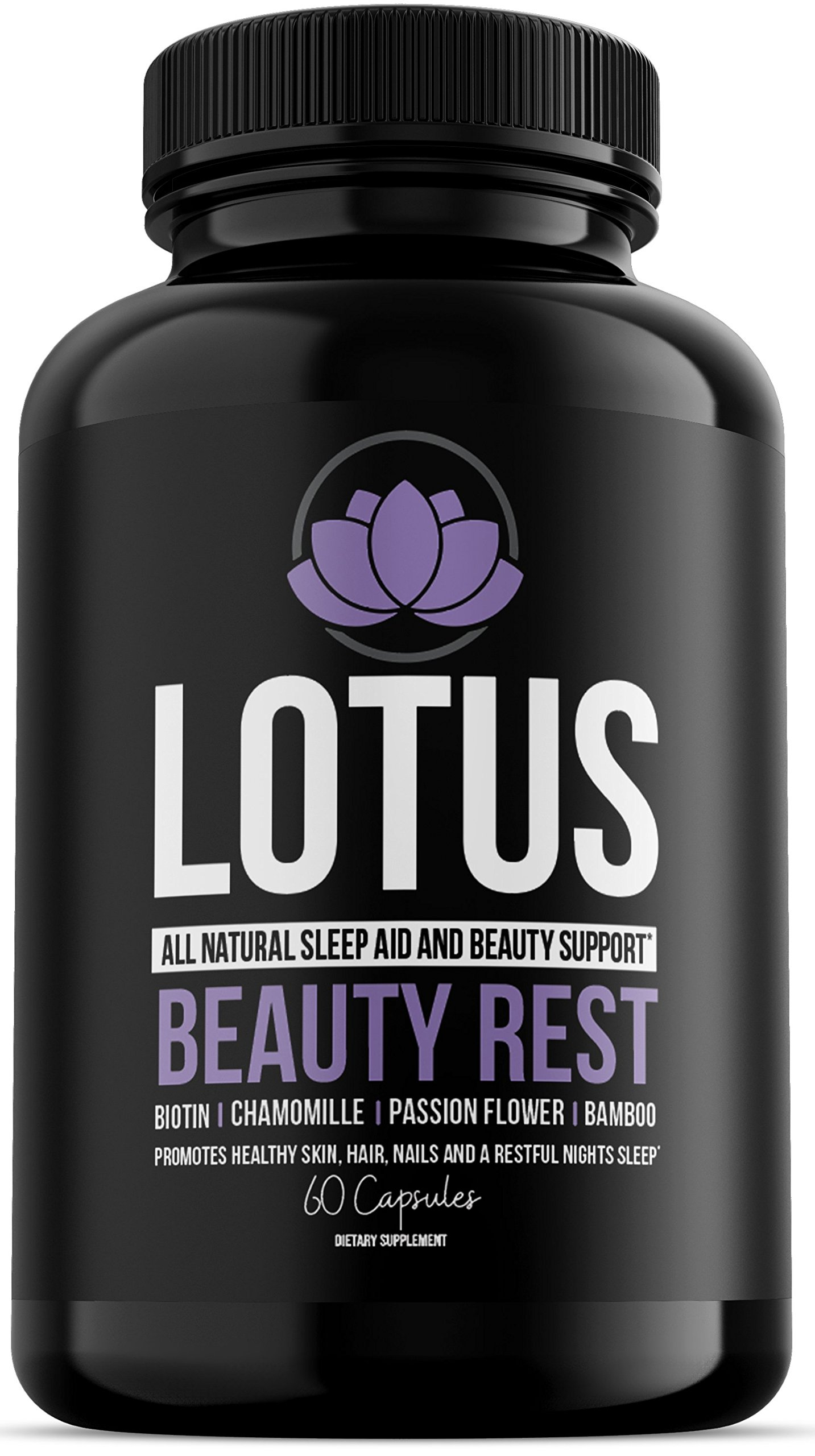 Lotus Beauty Rest- All Natural Sleep AID & Beauty Support - Hair Growth, Clear Skin & Strong Nails Vitamins - Collagen Builder - Vegan - Biotin 5000 - Melatonin Free - Chamomile - 5HTP