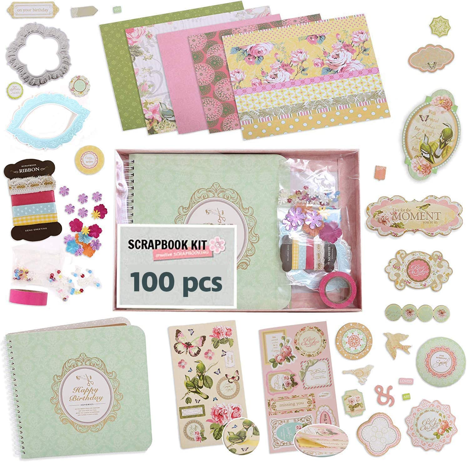 Hardcover Coil-Bound Scrapbook Album Including Stationery Set with Gold Embossed Stickers Ribbons /& Journaling Supplies. PICKMEs D.I.Y Floral Scrapbook Kits for Adults /& Kids 7.5 x 8, 100Pc