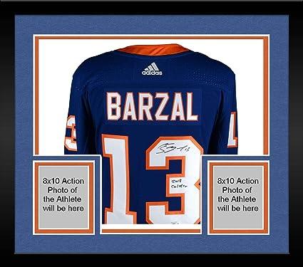 c53cc68e089 Framed Mathew Barzal New York Islanders Autographed Blue Fanatics Breakaway  Jersey with 2018 Calder Inscription -