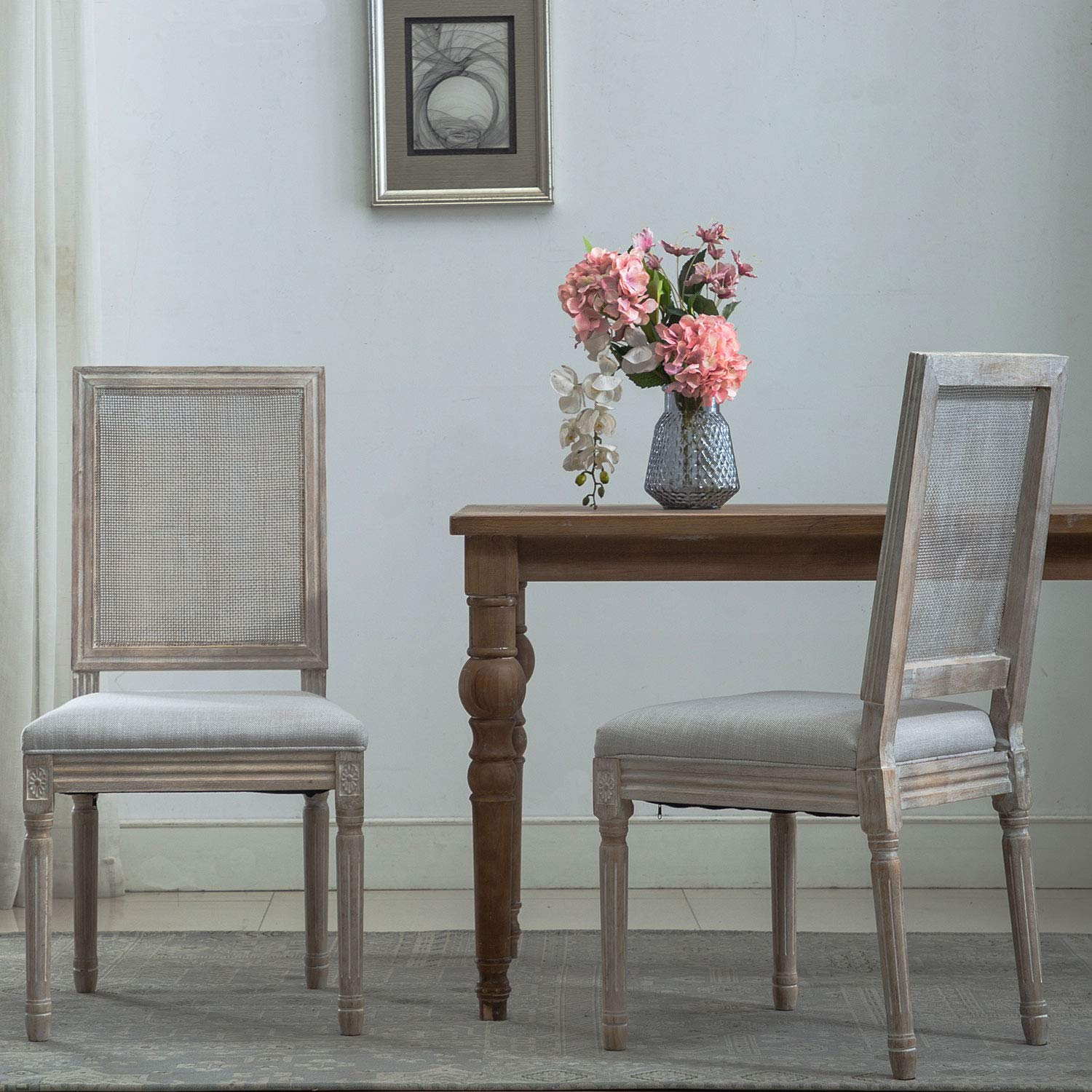French Dining Chairs, Distressed Elegant Tufted Kitchen Chairs with Rectangle Fine Rattan Back - Set of 2 - Beige Gray