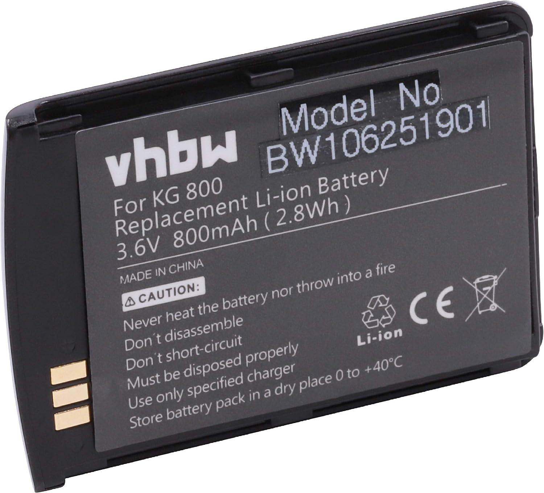 vhbw Li-Ion batería 800mAh (3.7V) para teléfono móvil Smartphone LG KG800, KG800 Chocolate: Amazon.es: Electrónica