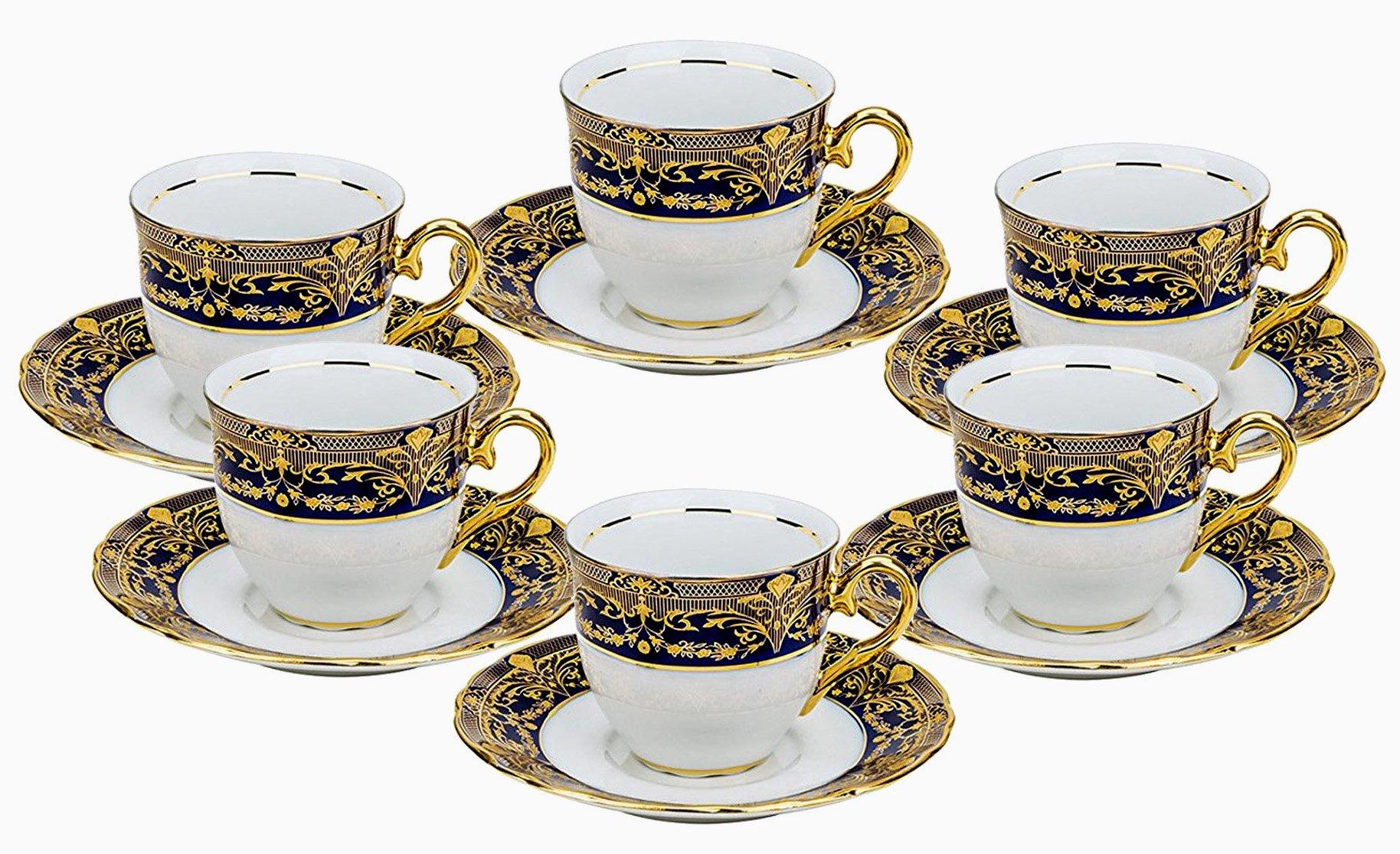 Euro Porcelain 12-pc. Tea Cup Coffee Set, Vintage Cobalt Blue Ornament, 24K Gold-plated Accents, Premium Bone China 6 Cups (8 oz) and Saucers, Original Czech Tableware