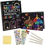 ZMLM Scratch Paper Art Notebooks - Rainbow Scratch Off Art Set for Kids Activity Color Book Pad Black Magic Art Craft…