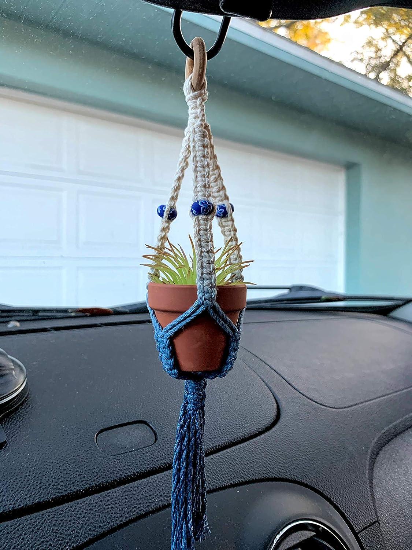 Macram\u00e9 rear view mirror hanger boho car ornament plant hanger car accessory