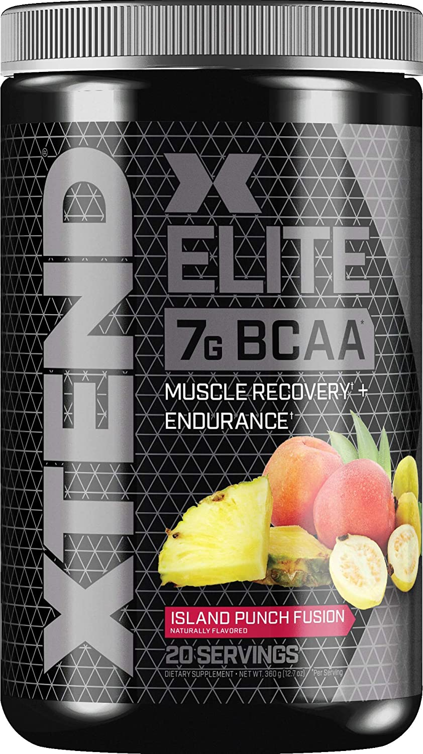 Xtend Elite Bcaa Powder Island Punch Fusion Sugar Free Post Workout Muscle Recovery Drink with Amino Acids 7g bcaas for Men Women 20 Servings