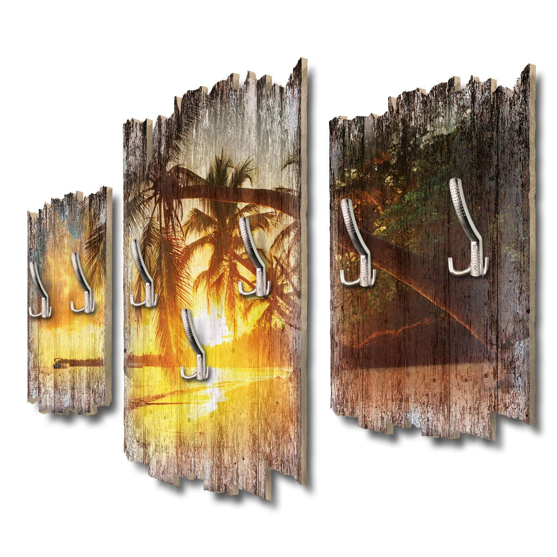 Kreative Feder Urlaubsstrand Designer Wandgarderobe Flurgarderobe Wandpaneele 95 x 60 cm aus MDF DTGH108
