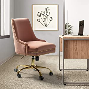 Bella Velvet Fabric Task Chair with Gold Base and Nailhead for Home Office - Pink