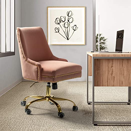 Amazon Com Bella Velvet Fabric Task Chair With Gold Base And Nailhead For Home Office Pink Kitchen Dining