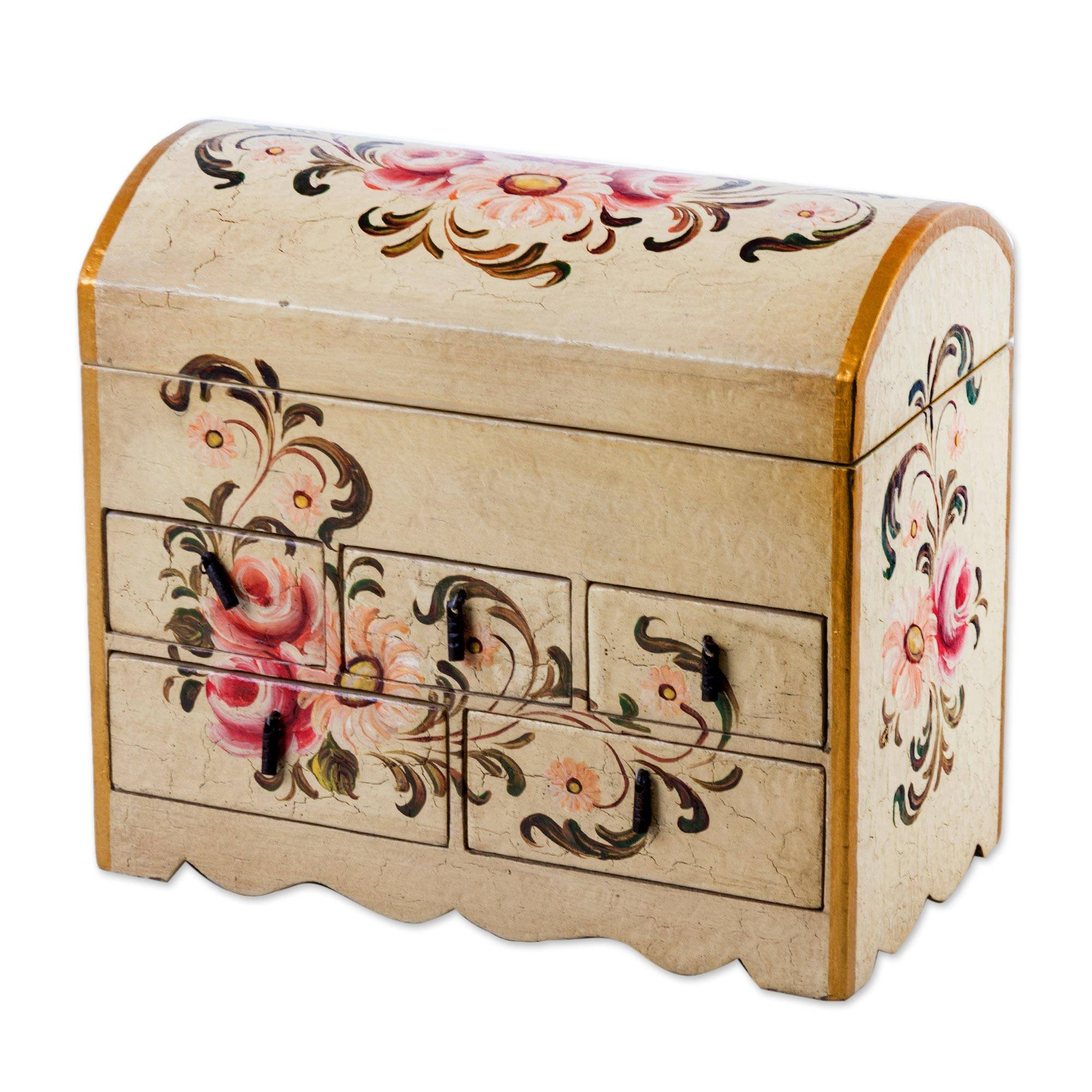 NOVICA Handcrafted White and Pink Mini Chest of Drawers Floral Wood Jewelry Box, Rose Bouquet'