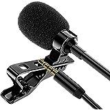 Jecoo Micrófono de Solapa con Conector de 3.5mm, Audio estéreo omnidireccional lavalier microfono Cable de 3m Compatible para
