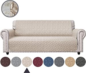 Ameritex Sofa Cover with Anti-Skip Dog Paw Print 100% Water-Resistant Quilted Furniture Protector Slipcover for Dogs, Children, Pets Sofa Slipcover for Leather Couch