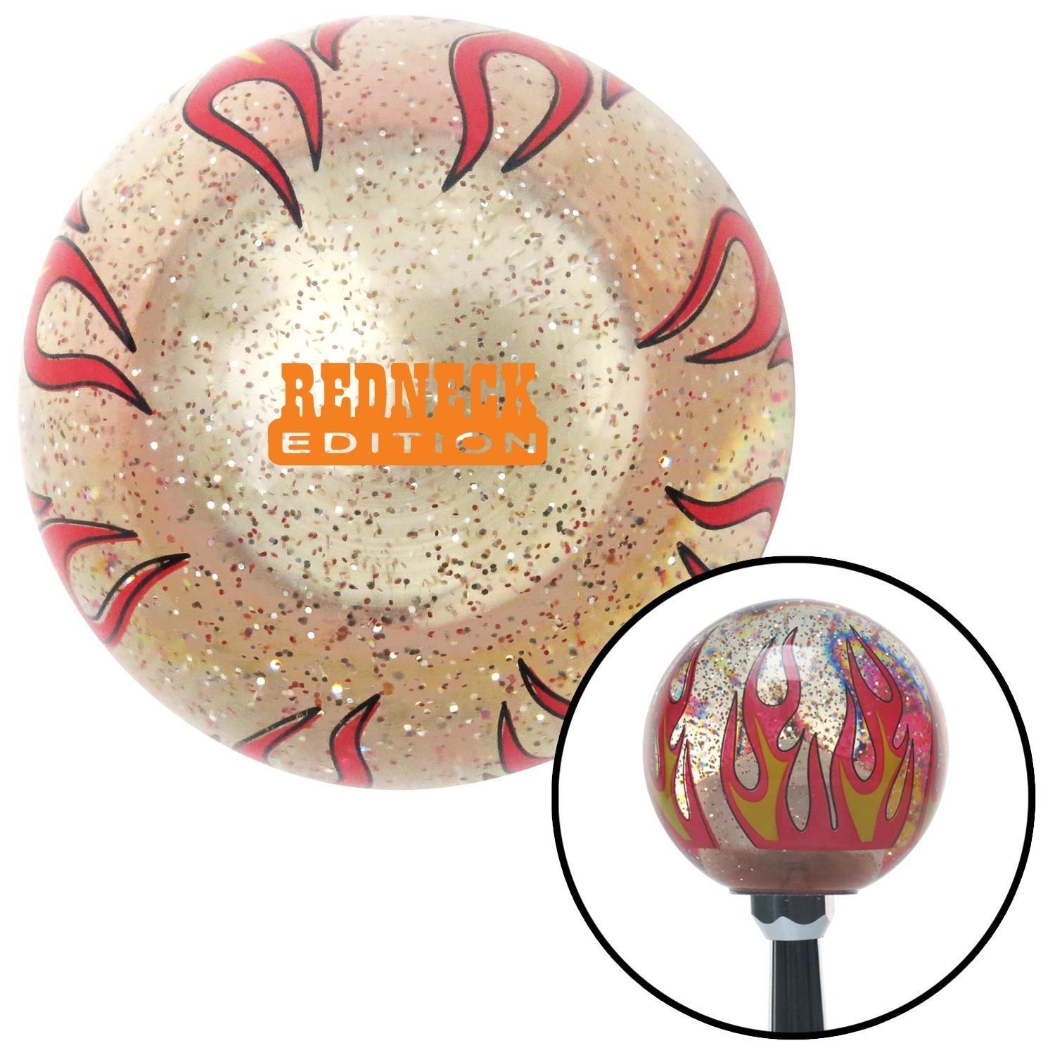 Orange Redneck Edition Clear Flame Metal Flake with M16 x 1.5 Insert American Shifter 296328 Shift Knob