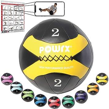 POWRX - Wall Ball Balón medicinal 2 kg, 3 kg, 4 kg, 5 kg, 6 kg, 7