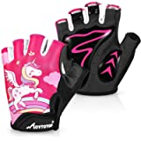 MOVTOTOP Cycling Gloves for Kids, Anti Slip Shock Absorbing Padded Breathable Fingerless Sports Gloves, Sweat-Resistant…