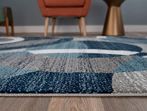 Rugshop Contemporary Modern Circles Abstract Area Rug 2 x 3 Blue