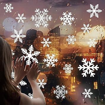 Cusfull 108 Stuck Weisse Schneeflocken Fenster Aufkleber Weihnachten Fensterdeko Elektrostatischer Aufkleber Winter Ornamente Party Deko