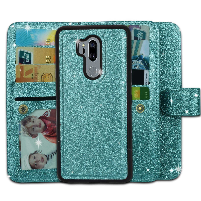 Ymhxcy LG G7 Wallet Case, LG G7 ThinQ Phone Case,PU Leather [9 Card Slots][Detachable][Kickstand] Phone Case & Wrist Lanyard LG G7-PT Mint