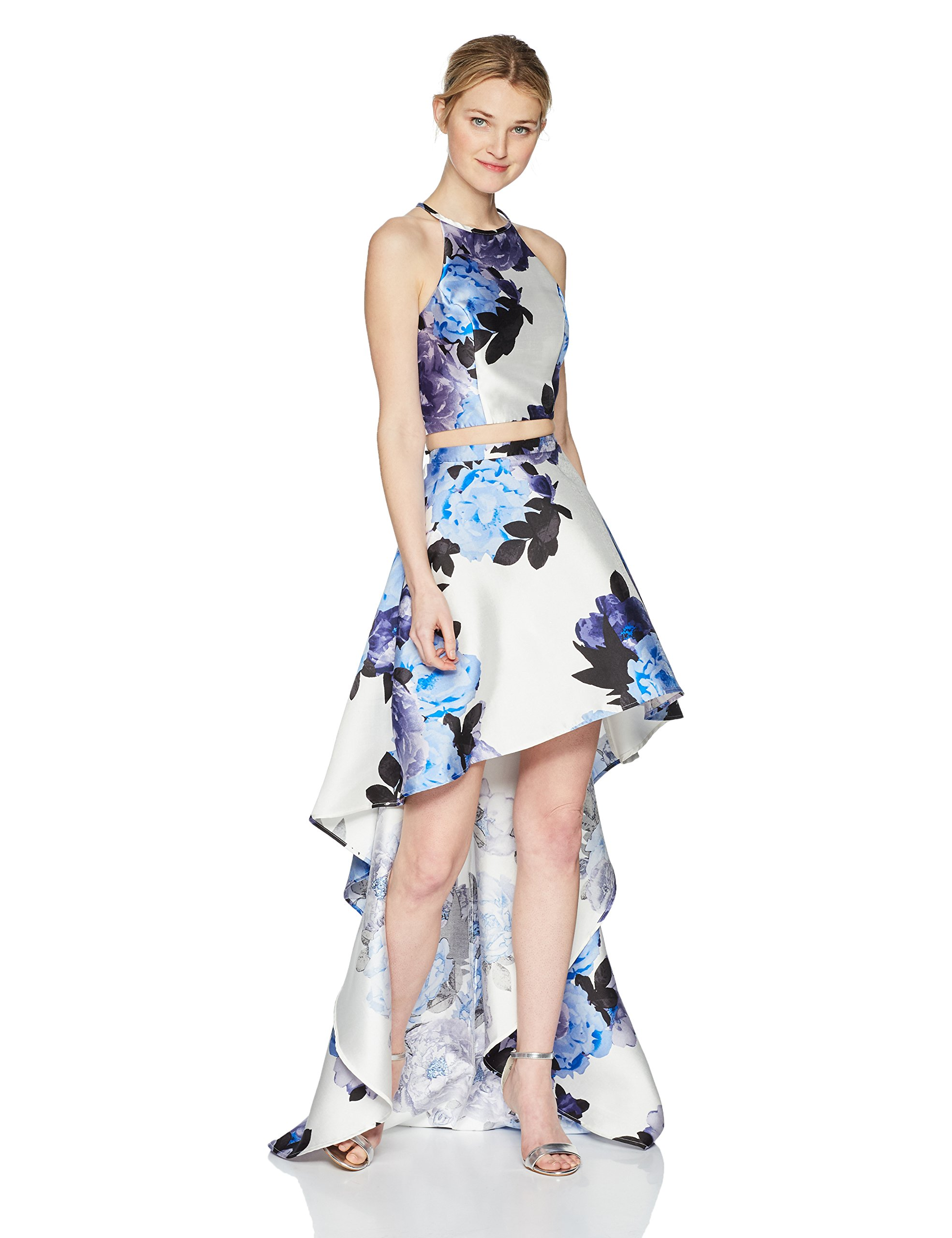 Speechless Junior's High-Low Mikado 2-Piece Formal Dance and Prom Dress, Blue Floral, 5