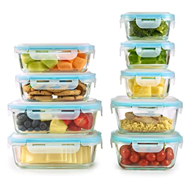 18 Piece Set Glass Food Storage Containers with Domed Locking Lids - Microwave, Oven, Dishwasher, Freezer Safe - BPA Free - Airtight & Leakproof - Perfect as Glass Meal Prep Containers