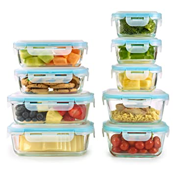 Amazoncom 18 Piece Set Glass Food Storage Containers with Domed
