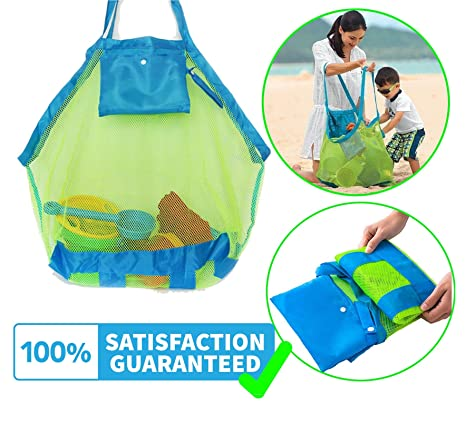 5edfc94b0b74 Mesh Beach Bag Tote Toy Bag - Large Toy Organizer Backpack Swim and Pool  Toys Balls Storage Bags, Perfect for Holding Childrens' ...