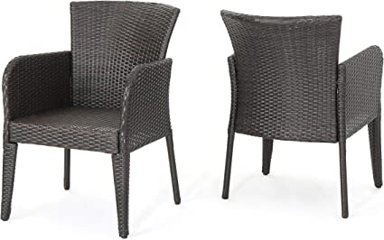 Amazon Com Christopher Knight Home Anaya Outdoor Wicker Dining Chairs 2 Pcs Set Multibrown Garden Outdoor