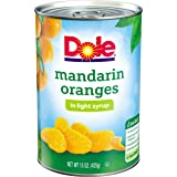 Dole Mandarin Oranges, Whole Segments in Light Syrup, 15 Ounce Can, All Natural Mandarin Orange Segments Packed in Light Syrup, Naturally Fat-Free
