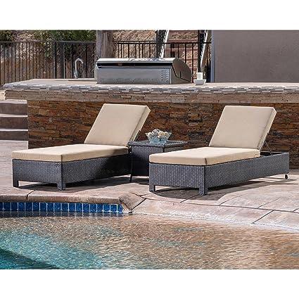 amazon com belmont 3 piece chaise lounge set garden outdoor rh amazon com