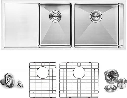 BAI 1254 Stainless Steel 16 Gauge Kitchen Sink Handmade 45-inch Undermount Double Bowl with Drainboard