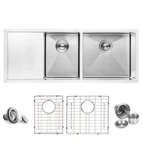 Double Kitchen Sink With Drainboard.Bai 1254 Stainless Steel 16 Gauge Kitchen Sink Handmade 45 Inch Undermount Double Bowl With Drainboard