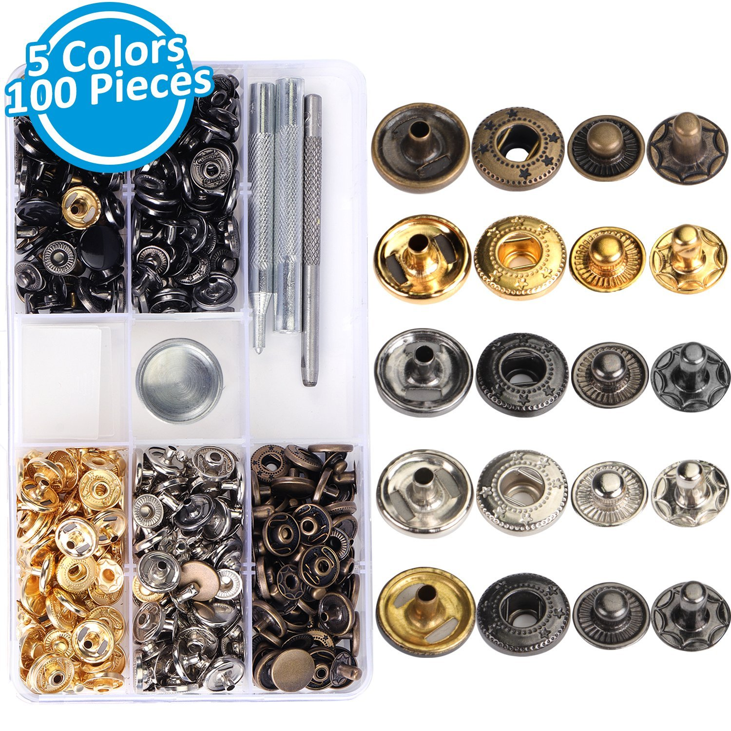 100 Sets Snap Fasteners Kit, Snap Buttons Press Studs with 4 Pieces Fixing Tools for Lether Cloth Jackets, 5 Assorted Colors, 12.5mm in Diameter INFELING