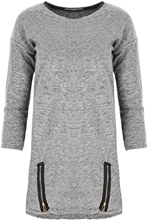 5765edd235 Womens Ladies High Low Knitted Two Front Gold Zips 3 4 Sleeves PVC Neckline  Oversized Baggy Winter Jumper Jersey Top Plus Sizes  Amazon.co.uk  Clothing