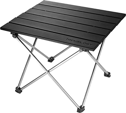 Small Folding Camping Table Portable Beach Table – Collapsible Foldable Picnic Table in a Bag – Mini Aluminum Side Table Lightweight Camp Tables for Outdoor Cooking, Backpacking, RV Fold, Travel