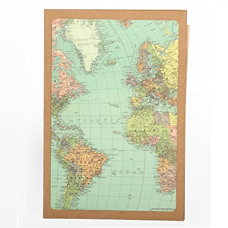 Vintage world map greetings card amazon kitchen home vintage world map greetings card gumiabroncs Gallery