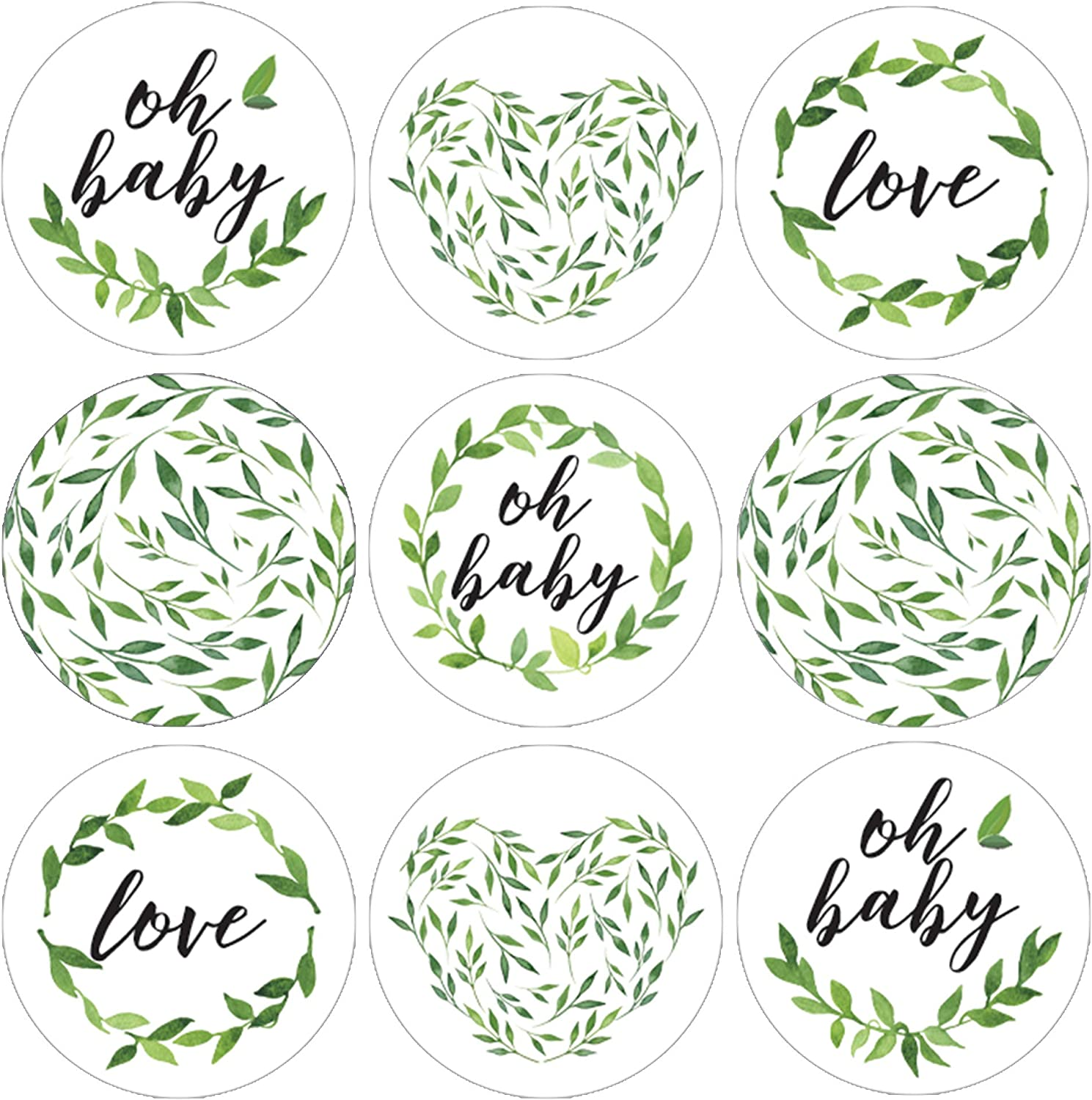 Greenery Baby Shower Favor Stickers - 180 Labels