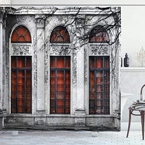 Amazon Com Ambesonne Vintage Shower Curtain Facade Of Old Abandoned Historical Building With Arched Large Window Heritage Art Cloth Fabric Bathroom Decor Set With Hooks 70 Long Grey Red Home Kitchen