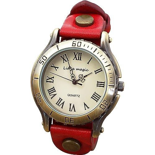 【リトルマジック】アンティーク 風 腕時計 メンズ レディース イタリアンレザー 革バンド 日本製クオーツ 革 レザー アナログ 時計 防水 Little magic watch (レッド)
