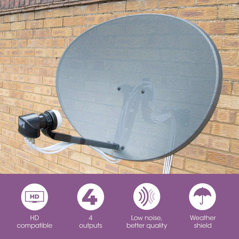 SLx LNB Parabolica 4 Salidas, Receptor Antena Parabolica Universal, Compatible con HD, 4K, UHD, Full HD