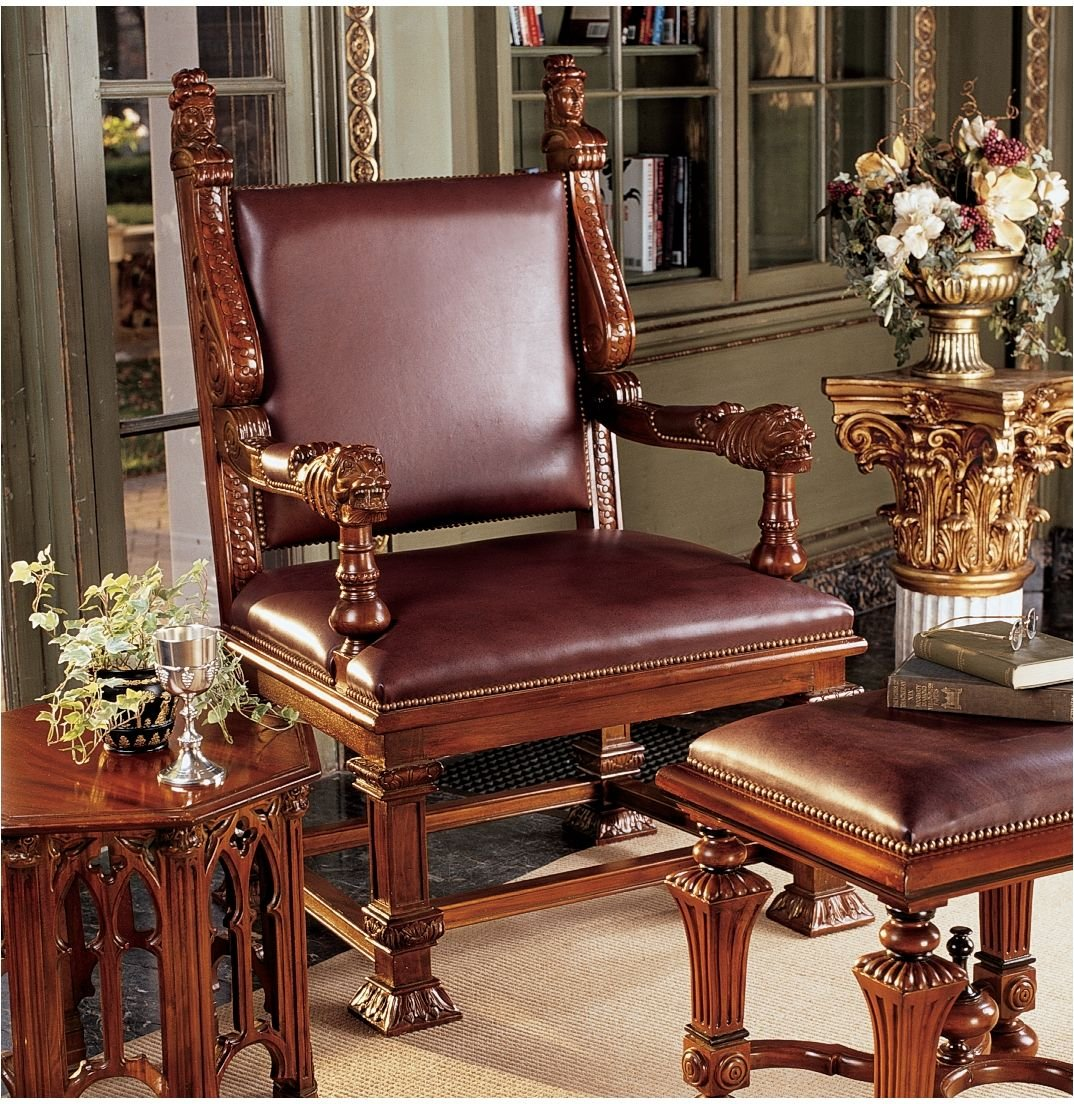 Amazon.com: Hand Carved Antique Replica Royal Throne Chair and Foot Stool:  Kitchen & Dining - Amazon.com: Hand Carved Antique Replica Royal Throne Chair And