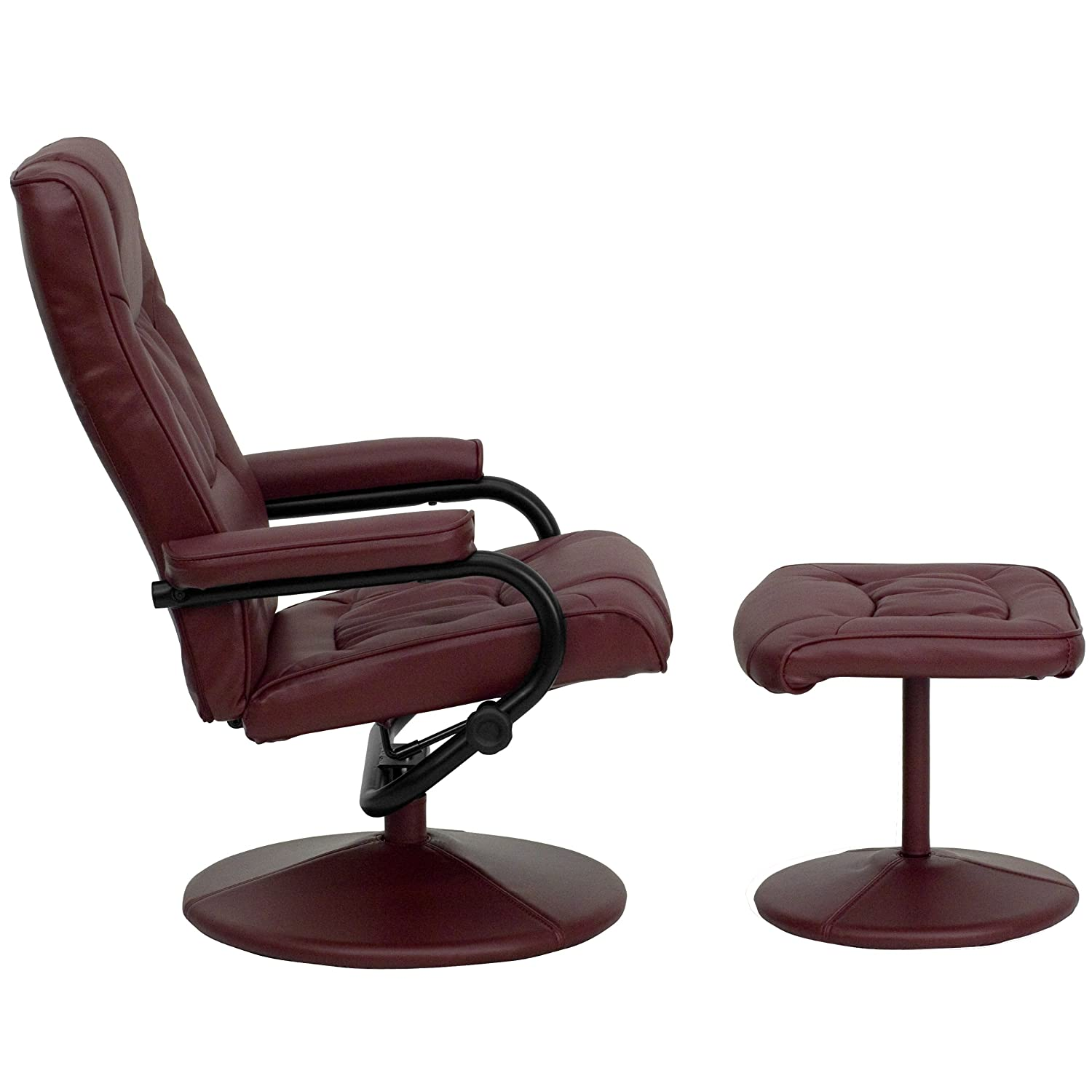 Amazon.com: MFO Contemporary Burgundy Leather Recliner and Ottoman with  Leather Wrapped Base: Kitchen & Dining - Amazon.com: MFO Contemporary Burgundy Leather Recliner And Ottoman